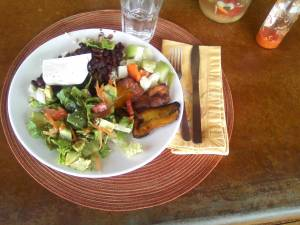 Fresh Salad, Beans and Rice, Fried Plantains, Tomatoes and Guacamole.