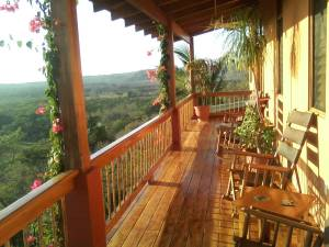 The upper back deck, facing West, at the Costa Rica Yoga Spa.